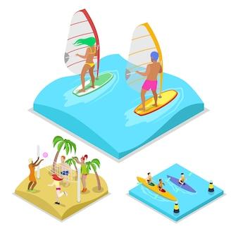 Illustrazione di surf isometrica attività all'aperto
