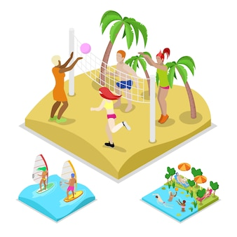 Illustrazione isometrica di beach volley all'aperto