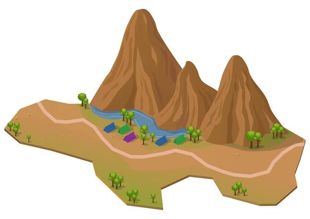 Parco isometrico all'aperto con montagna, lago, alberi e area campeggio. isolato su bianco