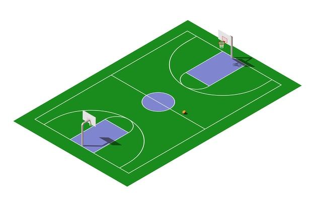 Campo da basket pubblico all'aperto isometrico con palla