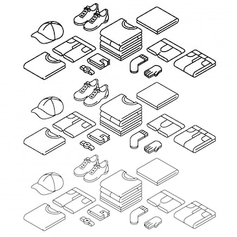 Icone di contorno isometrico, impostare, vestiti. icone linea sottile.