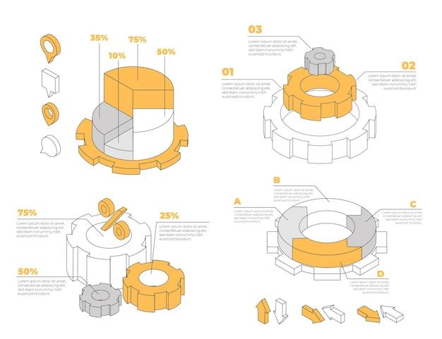 Collezione di elementi infografica profilo isometrico