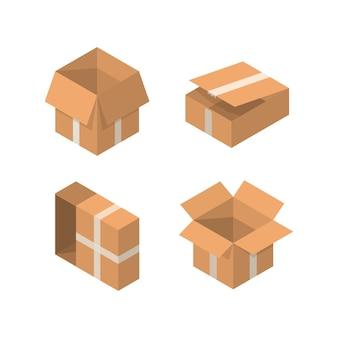 Cofanetto di imballaggio isometrico. raccolta di scatole di cartone in cartone animato su sfondo bianco.