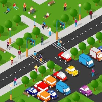 Parco isometrico con alberi e persone con panchine lifestyle socializzare in ambiente urbano
