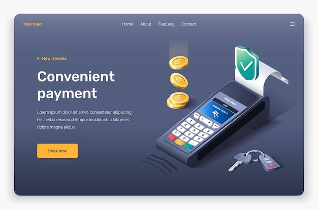 Terminale di pagamento isometrico, monete e chiave. modello di pagina di destinazione.