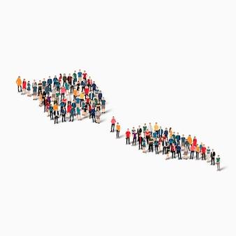 Persone isometriche che formano mappa di samoa Vettore Premium
