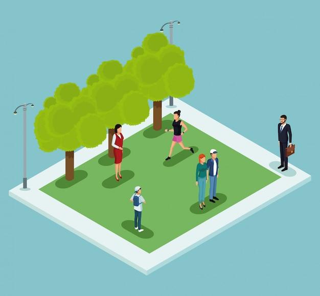Persone isometriche nel parco