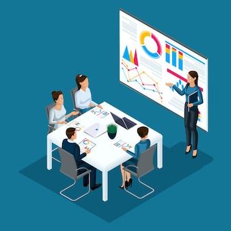 Persona isometrica persone, uomini d'affari 3d, coaching ragazza, formazione aziendale, bordo con grafici, concetto di consulenza gruppo di persone, lavoro d'ufficio, tecnologia ad alta tecnologia