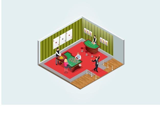 Le persone isometriche giocano nell'illustrazione vettoriale del centro di intrattenimento