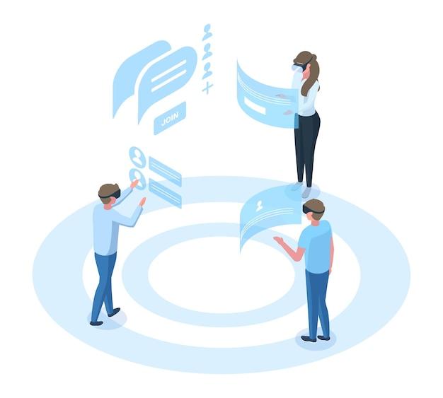 Tecnologia di simulazione della comunicazione di realtà virtuale di persone isometriche. i personaggi che indossano le cuffie in chat usano l'illustrazione vettoriale della realtà virtuale. concetto di realtà aumentata. vr digitale aumentata