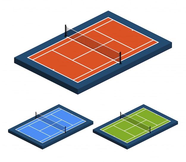 Insieme dell'illustrazione di prospettiva isometrica del campo da tennis con superficie diversa dalla vista laterale superiore. Vettore Premium