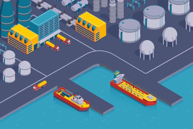 Composizione orizzontale di industria petrolifera isometrica con vista della stazione costiera con edifici di piante e navi da carico