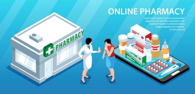 Composizione orizzontale della farmacia isometrica