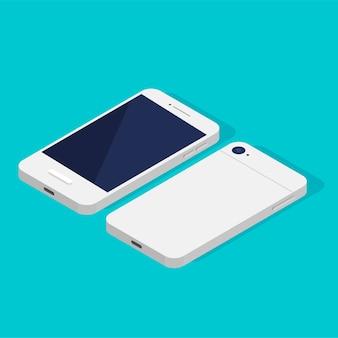 Lato anteriore e posteriore del telefono isometrico. modello di visualizzazione in bianco nero di smartphone.