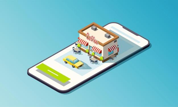 Telefono isometrico con strada di caffè e auto taxi