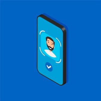 Telefono isometrico con tecnologia face id in mostra. processo di scansione del viso su uno schermo. segni del sistema di riconoscimento facciale. rilevamento e simboli di sicurezza di accesso.