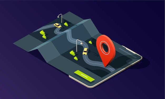 Telefono isometrico con applicazione cartografica, strada, traffico, taxi auto e pin di posizione su sfondo scuro.