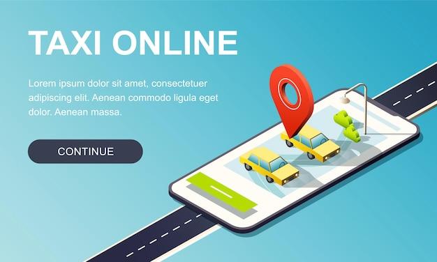 Telefono isometrico con strada, auto taxi e perno di posizione rosso. modello di pagina di destinazione. Vettore Premium