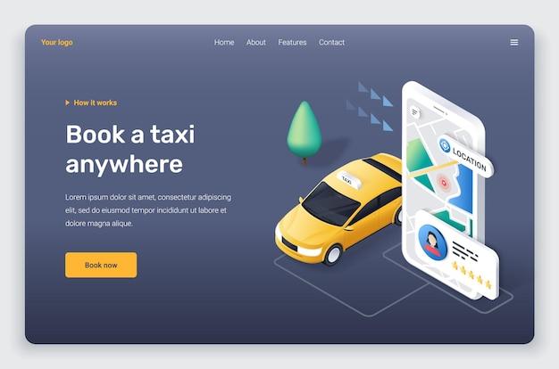 Telefono isometrico con auto taxi giallo, applicazione. modello di pagina di destinazione.