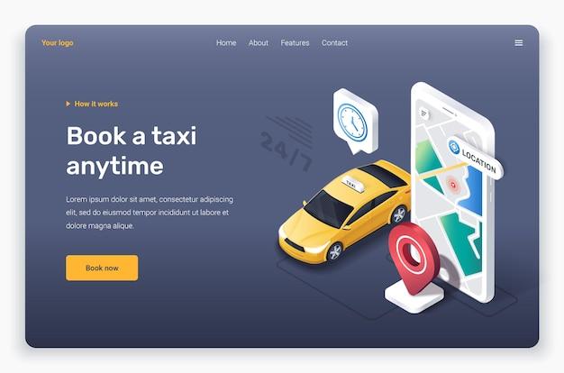Telefono isometrico con auto taxi giallo modello di pagina di destinazione