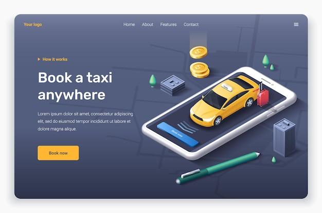 Telefono isometrico con edifici di penna auto taxi giallo modello di pagina di destinazione