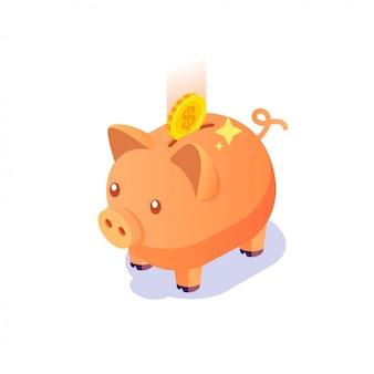 Porcellino salvadanaio isometrico con le monete su fondo bianco isolato, investimento, concetto dei soldi di risparmio con il porcellino salvadanaio, icona del porcellino salvadanaio