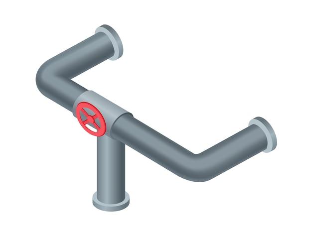 Tubo isometrico. tubo dell'acqua o conduttura con valvola rossa. costruzione di tubi per l'industria petrolifera o del gas. impianto idraulico in plastica. pezzo di tubo.
