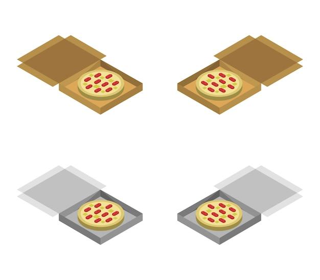 Set di scatole per pizza isometrica