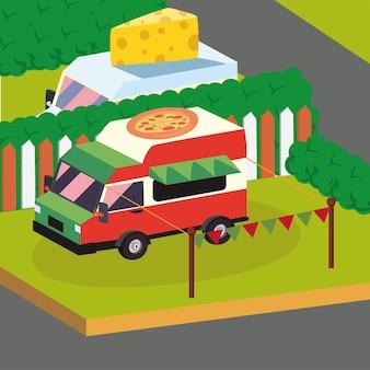 Veicolo di camion cibo pizza isometrica