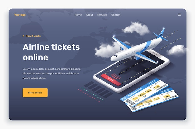 Aereo isometrico, telefono, nuvole e biglietti. modello di pagina di destinazione.