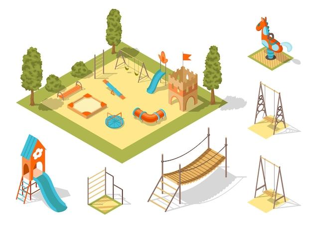 Concetto di parco giochi isometrico per passatempo familiare all'aperto