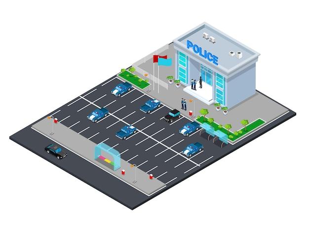 Costruzione isometrica del dipartimento di polizia con poliziotto e auto della polizia. illustrazione vettoriale