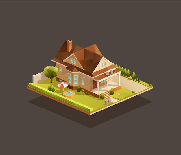 Casa familiare povera isometrica con portico