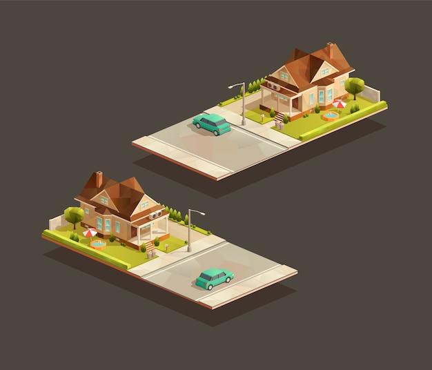 Casa familiare povera isometrica con auto berlina sulla strada