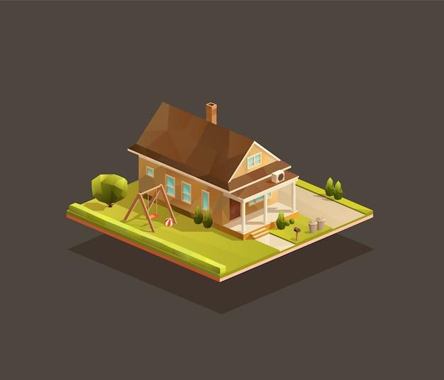 Casa famiglia povera isometrica con portico in legno