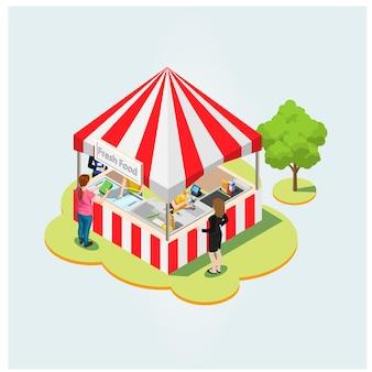 Mercato locale del prodotto isometrico. agricoltori che vendono prodotti agricoli naturali sani in contenitori all'aperto