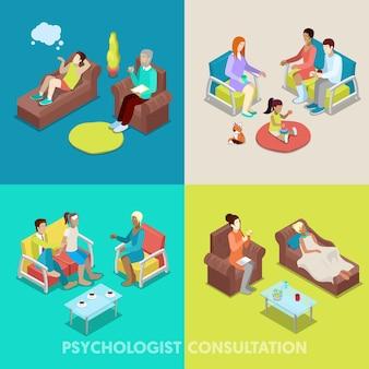 Consultazione psicologica isometrica. persone in psicoterapia. vector 3d illustrazione piatta