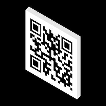 Codice qr isometrico isolato su sfondo nero. il codice qr può essere utilizzato per la vendita, il pagamento, il pagamento e altri scopi. illustrazione vettoriale