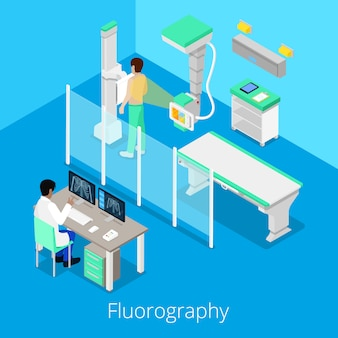 Procedura di fluorografia per radiologia isometrica con apparecchiature mediche e paziente. illustrazione