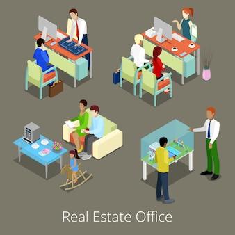 Ufficio immobiliare isometrico. interno piano 3d con gestori e clienti.