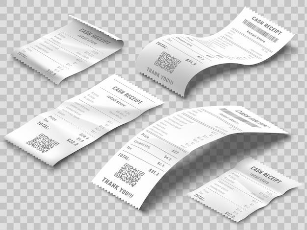 Fattura isometrica delle ricevute. ricevuta di fatturazione stampata, fatture di pagamento e assegno bancario stampa set realistico