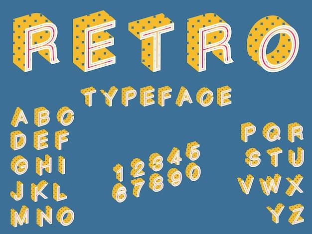 Carattere tipografico retrò isometrico, carattere in stile vintage perfetto per poster