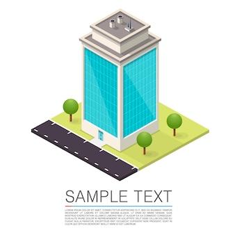 Segno di arte casa strada isometrica. illustrazione vettoriale