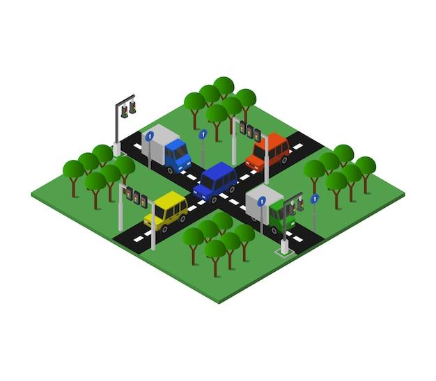 Incrocio stradale isometrico