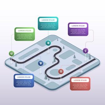 Modello di infografica roadmap isometrica