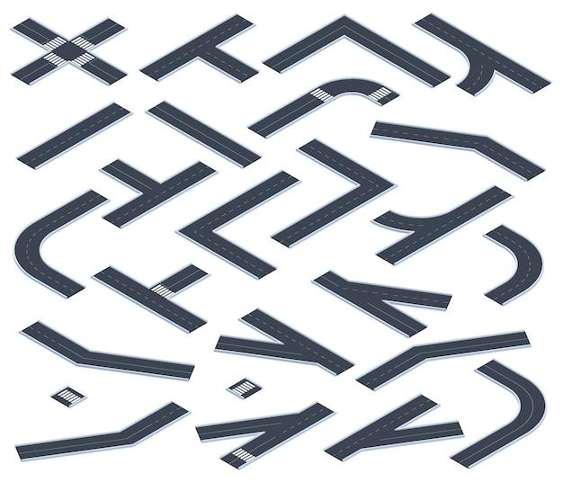 Strade isometriche. elementi della mappa stradale della strada autostradale o della città, intersezioni stradali 3d e svolte con set di illustrazioni vettoriali di marcature. sezioni di strada asfaltata