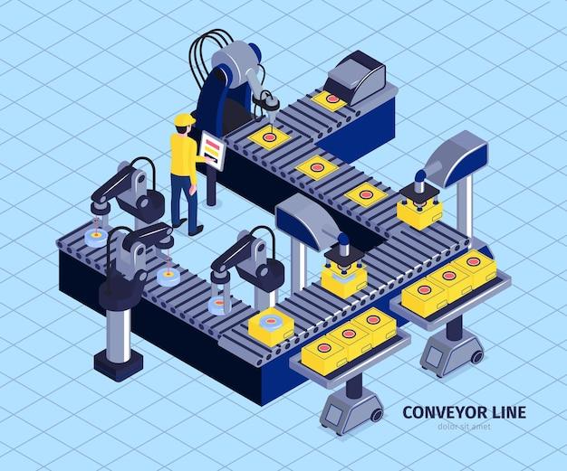 Composizione isometrica nella fabbrica del trasportatore di automazione del robot con l'immagine della catena di montaggio automatizzata con l'illustrazione dei manipolatori del braccio robotico