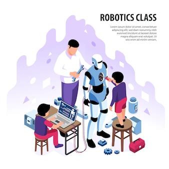 Composizione nell'illustrazione di educazione dei bambini di robotica isometrica con testo modificabile e bambini con androide di costruzione di caratteri adulti