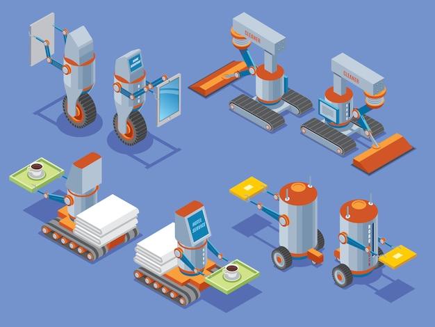 Presentazione di robot isometrici con assistenti robotici di servizi alberghieri di pulizia di lavori domestici nella vista anteriore e posteriore isolata