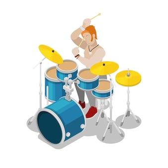 Batterista rock isometrica che suona alla batteria. vector 3d illustrazione piatta